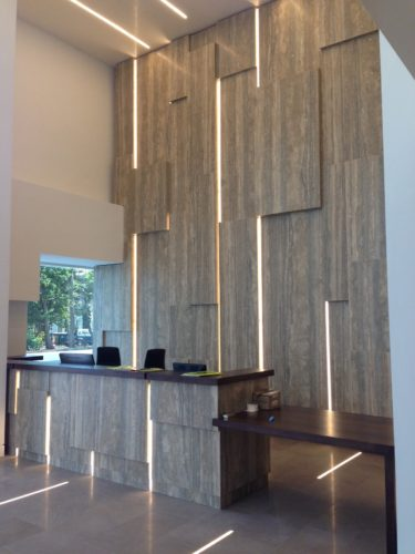 Interior Stone Veneer and Cladding at a reception area