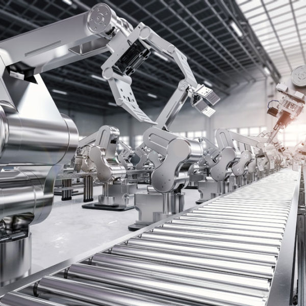 Robotic arms on production line