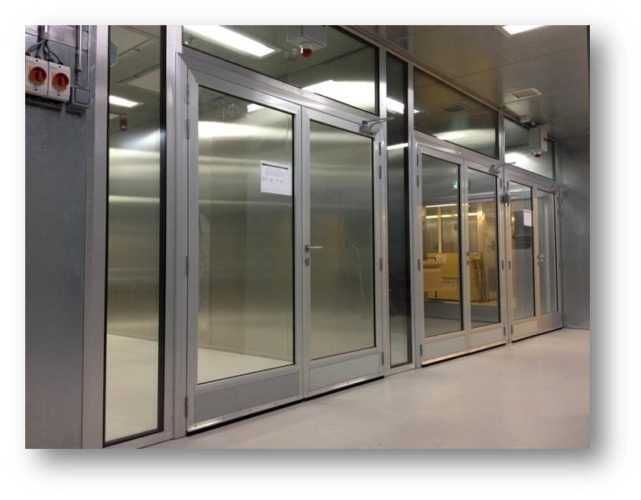 Stainless steel framed doors