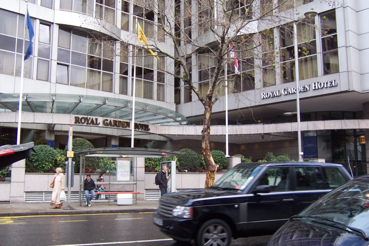 Front entrance to the Royal Garden Hotel